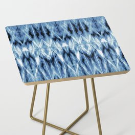 Blue Satin Shibori Argyle Side Table