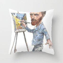 Van Gogh Paints Night Cafe Throw Pillow