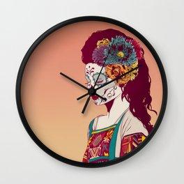 Mexican Skull Lady Wall Clock