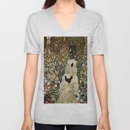 "Gustav Klimt ""Garden Path with Chickens"" Unisex V-Neck"