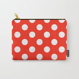 Red (RYB) - red - White Polka Dots - Pois Pattern Carry-All Pouch