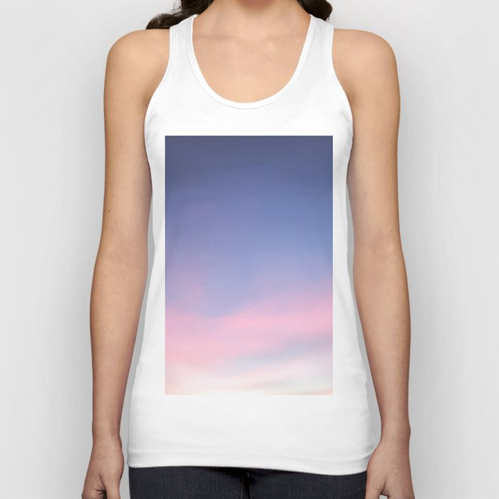 Blue evening sky with pink clouds. Photography Unisex Tanktop