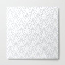 Light Grey Japanese wave pattern Metal Print