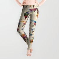 animals Leggings featuring map by mark ashkenazi