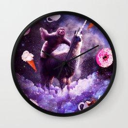 Outer Space Sloth Riding Llama Unicorn - Donut Wall Clock