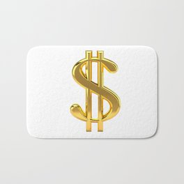 Gold Dollar Sign on White Bath Mat