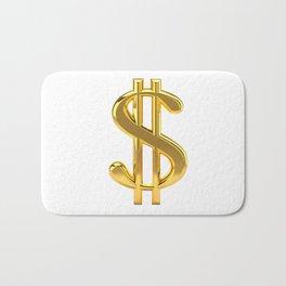 Gold Dollar Sign on White Bath Mat