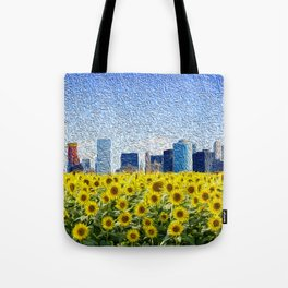 New York City Skyline Oil Paint View from Sunflower Field Tote Bag