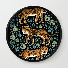 Tiger forest tropical tigers screen print art by andrea lauren Wall Clock