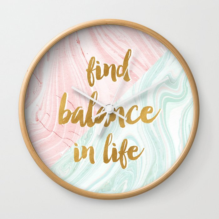 Find Balance In Life Quotes Rose Gold Marble Wall Clock By
