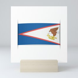 Flag of American Samoa. The slit in the paper with shadows. Mini Art Print