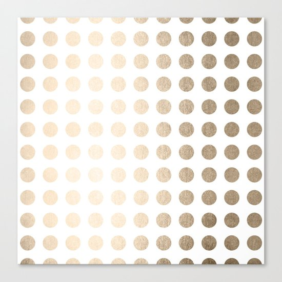 Simply Polka Dots in White Gold Sands Canvas Print
