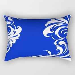 Damask Blue and White Victorian Swirl Damask Pattern Rectangular Pillow