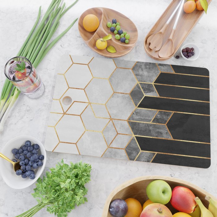 Charcoal Hexagons Cutting Board