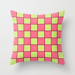 Rose Pink & Pale Green Chex  Throw Pillow