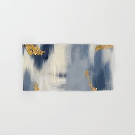 Blue and Gold Ikat Abstract Pattern #2 Hand & Bath Towel