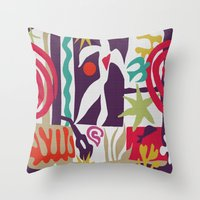 matisse Throw Pillows featuring Inspired to Matisse (violet) by Chicca Besso