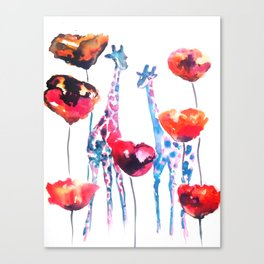 Giraffes and Poppies Canvas Print