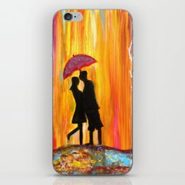 Romance in the Rain I romantic gift art iPhone Skin