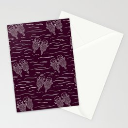 Sea Otters on Dark Raspberry Stationery Cards