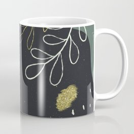Modern furniture, decorative gold abstract in dark background with leaf elements Coffee Mug
