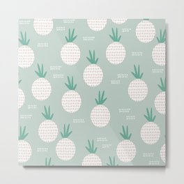 Green lush poppy pineapples pattern Metal Print