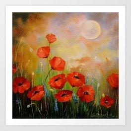 Poppies in the moonlight Art Print