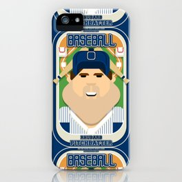 Baseball Blue Pinstripes - Rhubarb Pitchbatter - Bob version iPhone Case