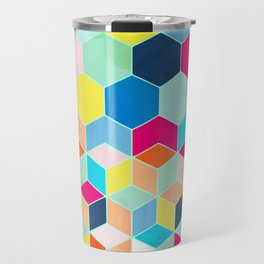 Super Bright Color Fun Hexagon Pattern Travel Mug