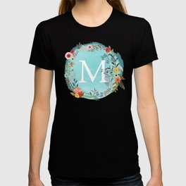 Personalized Monogram Initial Letter M Blue Watercolor Flower Wreath Artwork T-shirt