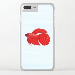 betta splendens red male Clear iPhone Case