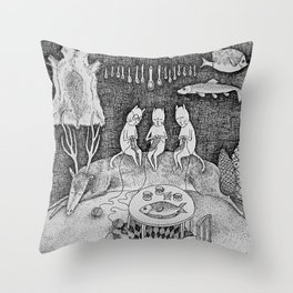 Knitting Cats Throw Pillow