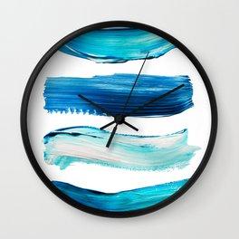 Blue Swash Paint Print Wall Clock