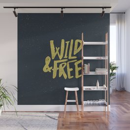 Wild and Free x Gold and Navy Wall Mural