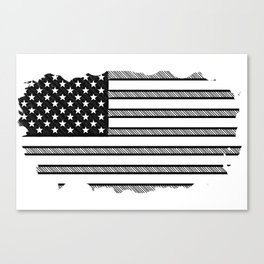 Usa black and white flag Canvas Print