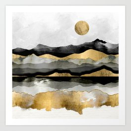 Golden Spring Moon Art Print