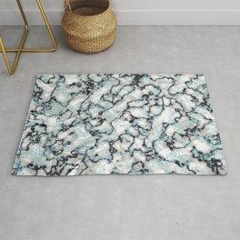 White Black & Mint Metallic Marble Texture Rug