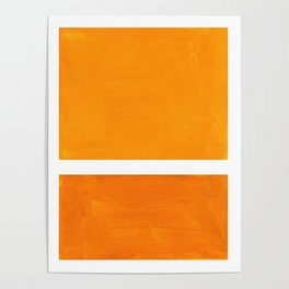 Antique Yellow  & Yellow Ochre Mid Century Modern Abstract Minimalist Rothko Color Field Squares Poster
