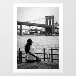 Looking at Brookling Bridge Art Print
