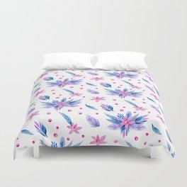 Pastel pink blue watercolor floral polka dots pattern. Duvet Cover