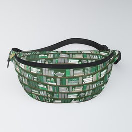 Book Case Pattern - Green and Grey Fanny Pack