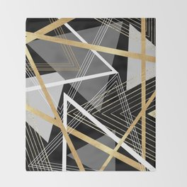 Original Gray and Gold Abstract Geometric Throw Blanket