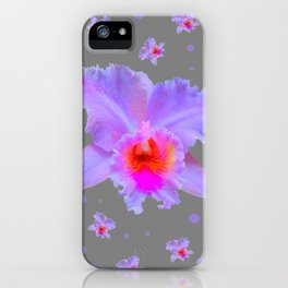 GREY ART TROPICAL LILAC CATTLEYA ORCHID FLOWERS iPhone Case