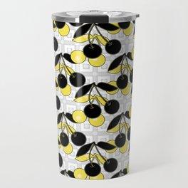 Black and yellow pattern . Cherry . Travel Mug