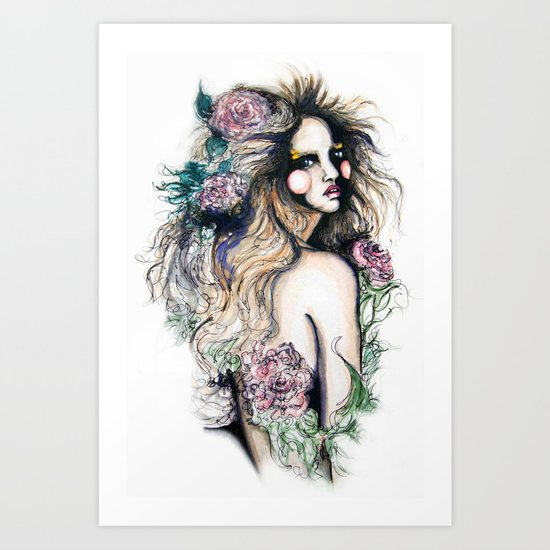 Flower Girl // Fashion Illustration Art Print