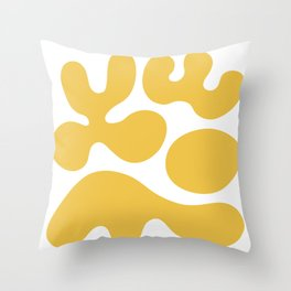Mid Century Modern Organic Abstraction 337 Yellow Throw Pillow