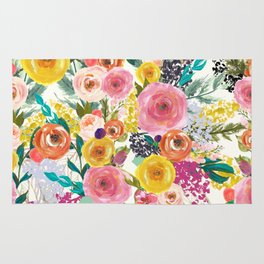 Vibrant Summer Floral Painting in Pink, Gold, and Turquoise Rug