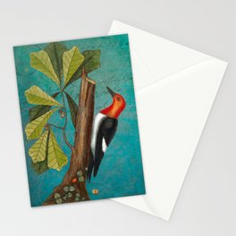 Red Headed Woodpecker with Oak, Natural History and Botanical collage Stationery Cards