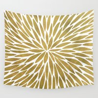 golden Wall Tapestries featuring Golden Burst by Cat Coquillette