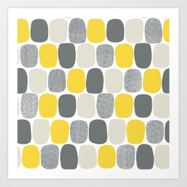 Wonky Ovals in Yellow Art Print